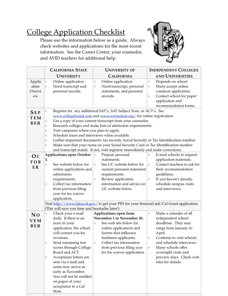 College Application Checklist P 1