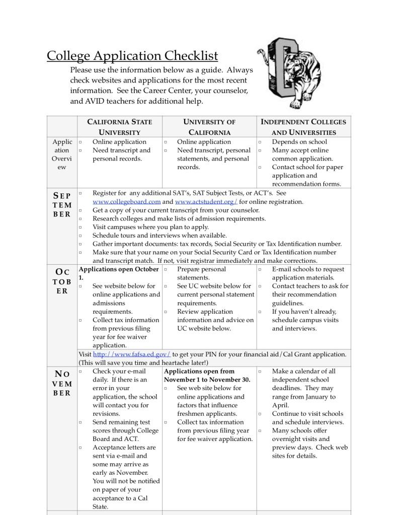 College Application Checklist P 1